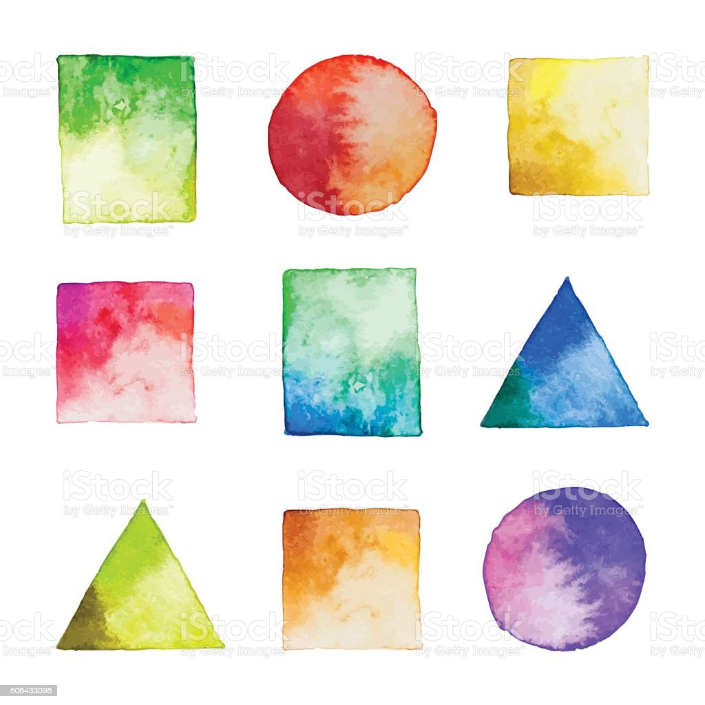 Set of vector watercolor geometric shapes vector art illustration