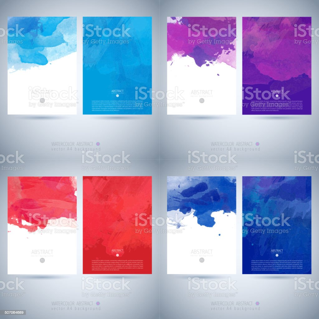 Set of vector watercolor template vector art illustration
