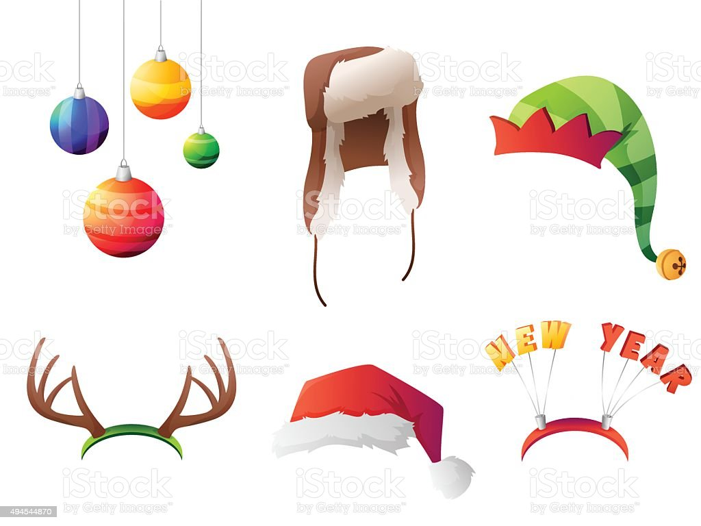 Set of vector winter christmas hats set. For party, street vector art illustration