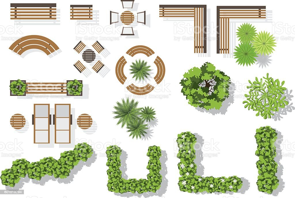 Set of vector wooden benches and treetop symbols. vector art illustration