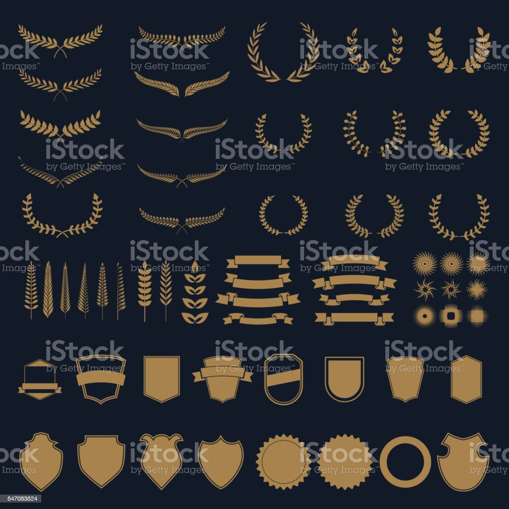 Set of vector wreaths and branches. . vector art illustration