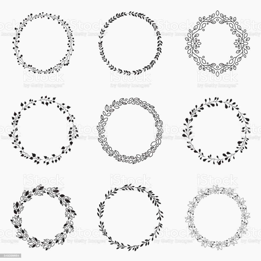 Set of vector wreaths vector art illustration