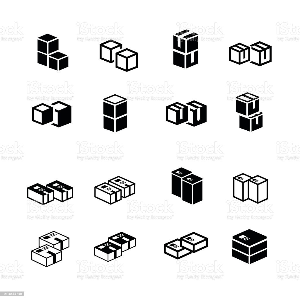 set of vectors box interlace icons vector art illustration