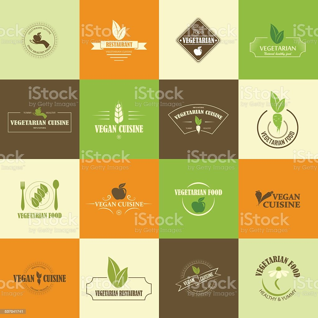Set of vegan and vegetarian icons vector art illustration