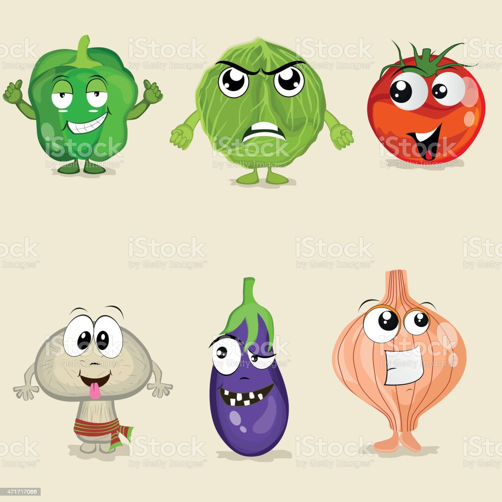 Set of vegetable cartoon characters. vector art illustration