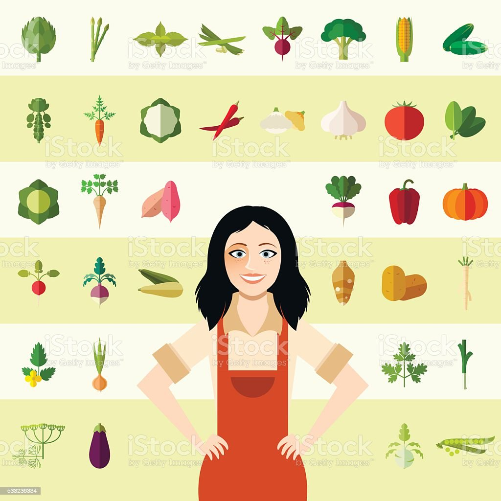 Set of vegetable icons and a gardener woman vector art illustration