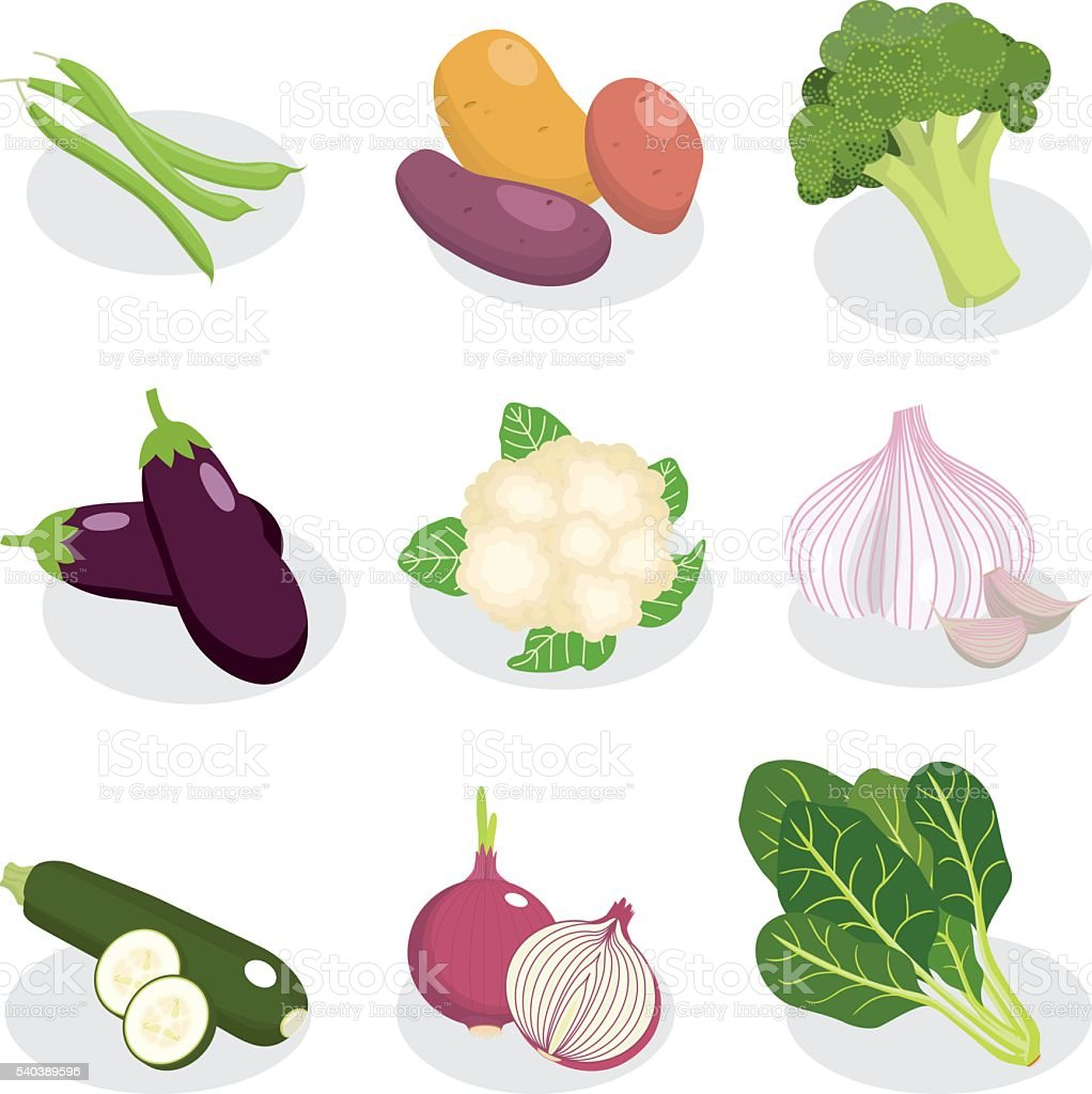 set of vegetable vector vector art illustration