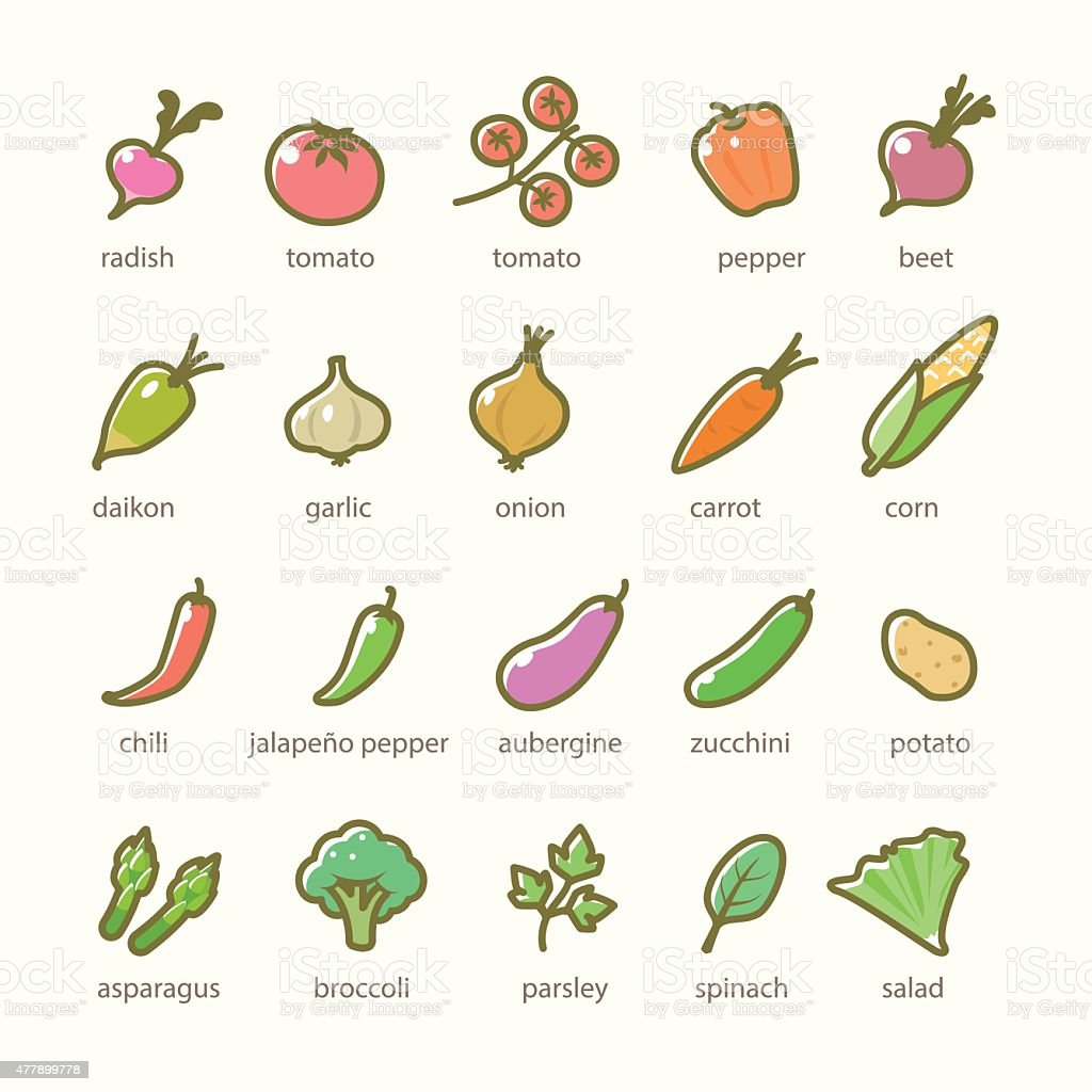 Set of vegetables and greens icons vector art illustration
