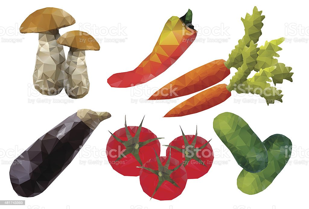 Set of vegetables from polygons royalty-free stock vector art