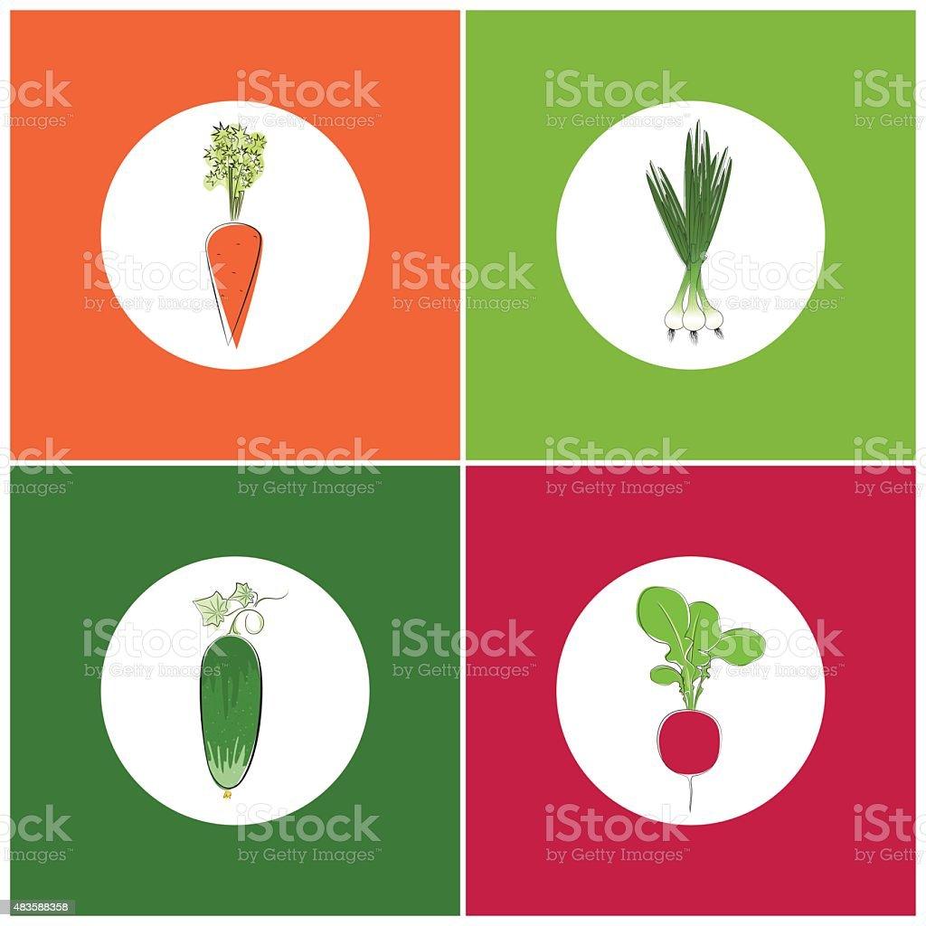 Set of Vegetables Icons vector art illustration