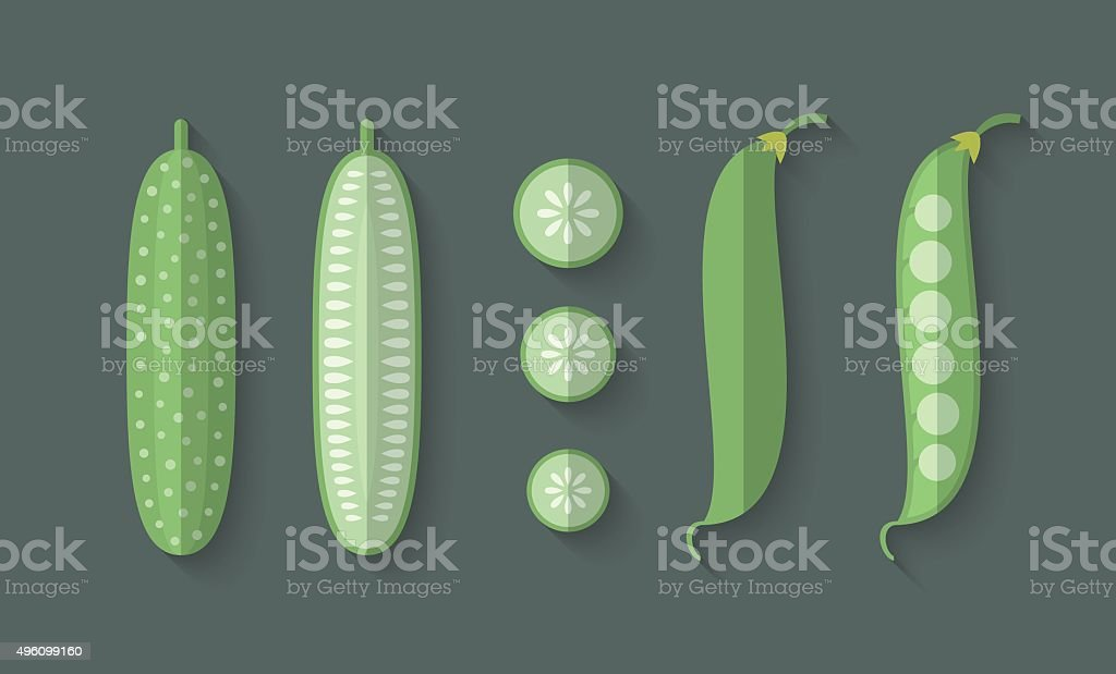 Set of Vegetables in a Flat Style - Cucumber vector art illustration