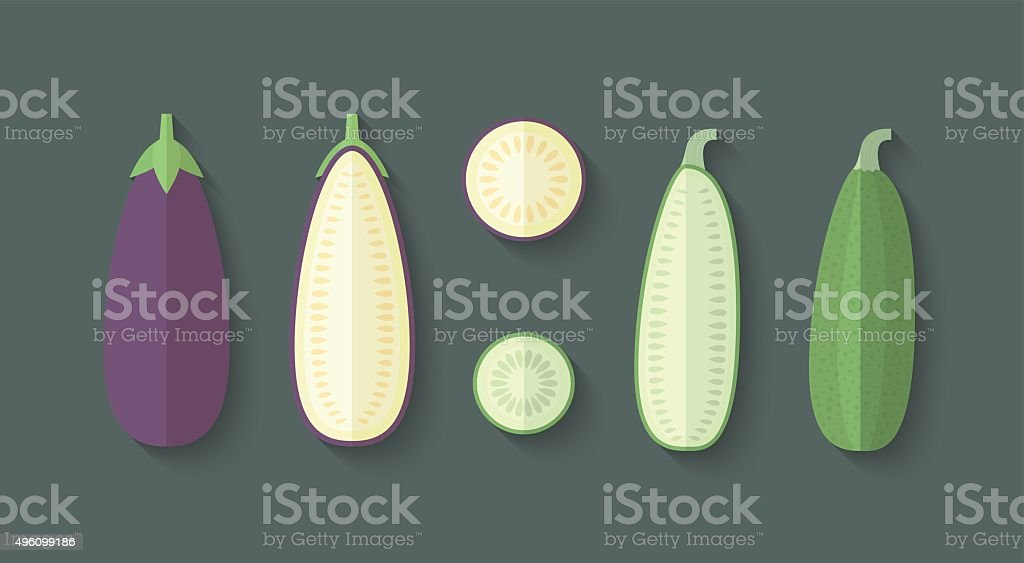 Set of Vegetables in a Flat Style - Eggplant vector art illustration