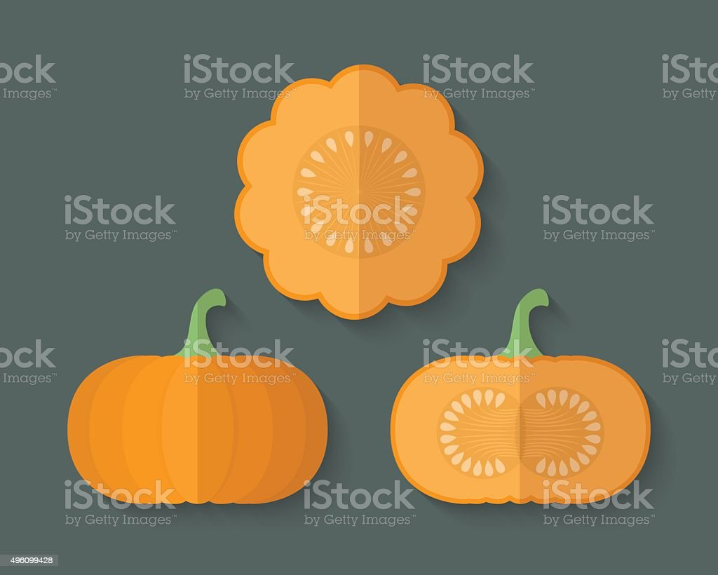 Set of Vegetables in a Flat Style - Pumpkin vector art illustration