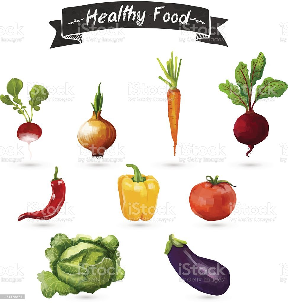 Set of vegetables in a watercolor style. Isolated. Vector. vector art illustration