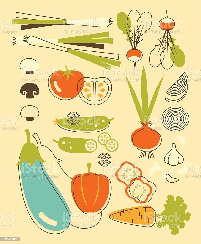 Set of vegetables in vintage style vector art illustration