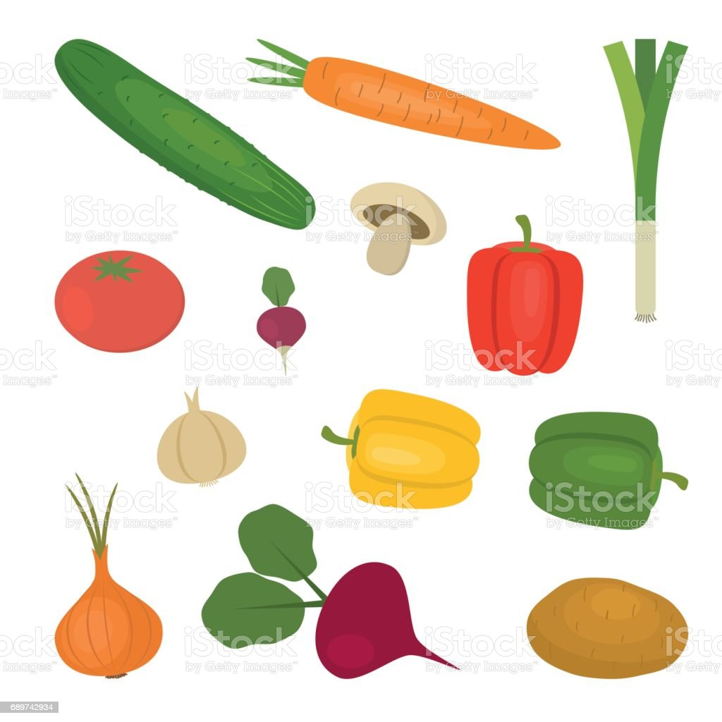 Set of vegetables isolated on a white background vector art illustration