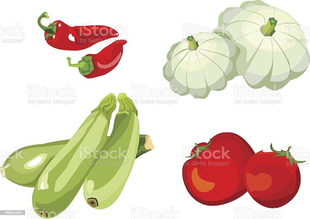 set of vegetables vector art illustration