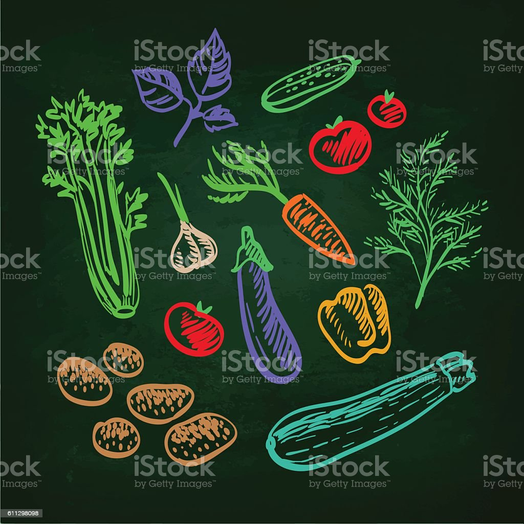 Set of vegetables. vector art illustration