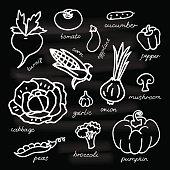 Set of vegetables vector illustration on black background.