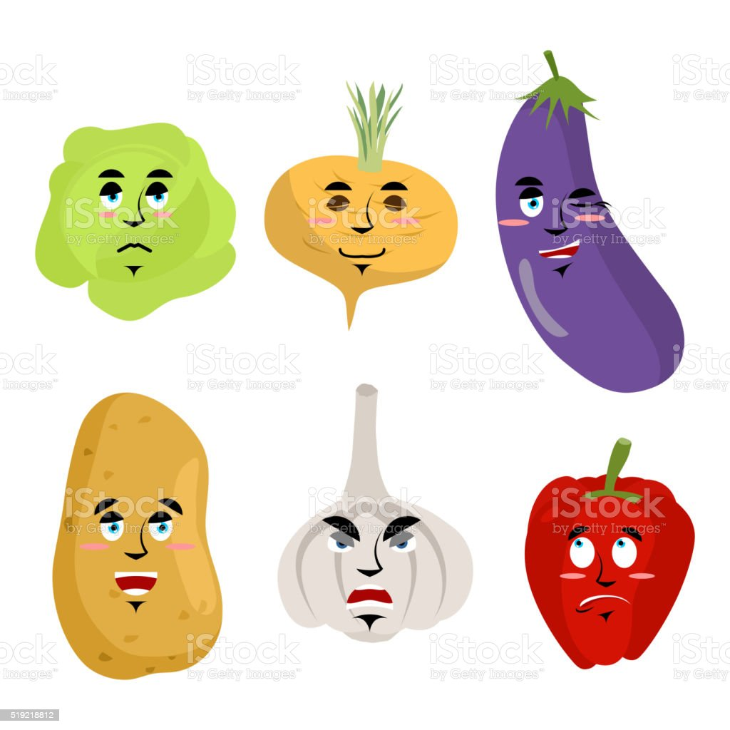 Set of vegetables with emotions. Cheesy Potatoes. Angry garlic. vector art illustration