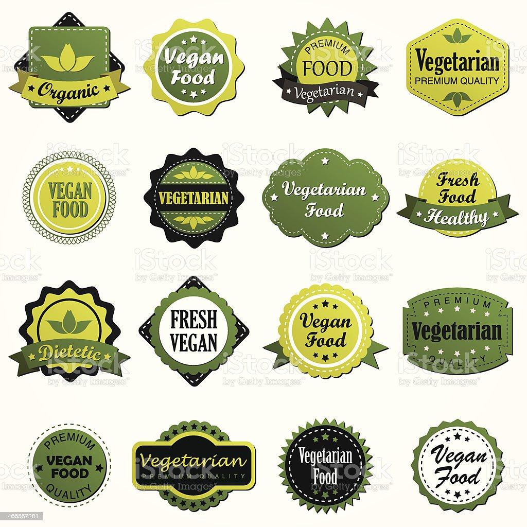 Set of vegetarian food labels vector art illustration