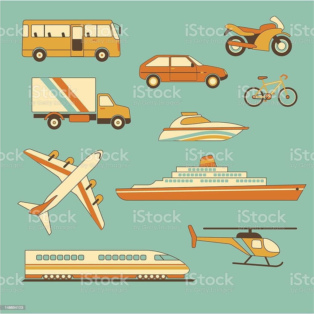 Set of vehicles royalty-free stock vector art