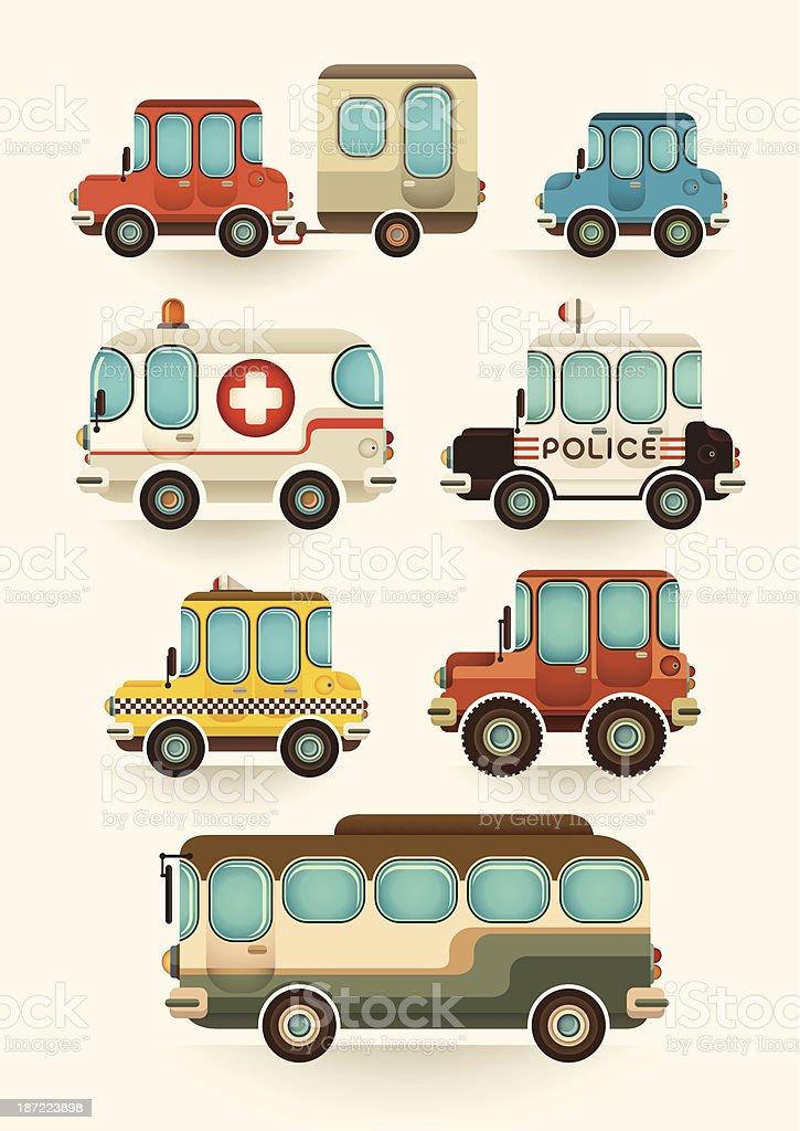 Set of vehicles. vector art illustration