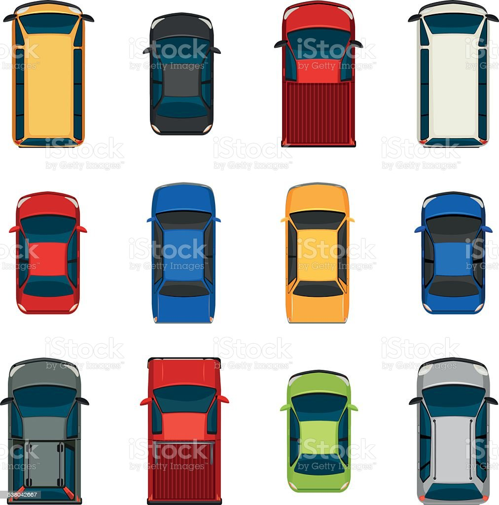 Set of vehicles vector art illustration
