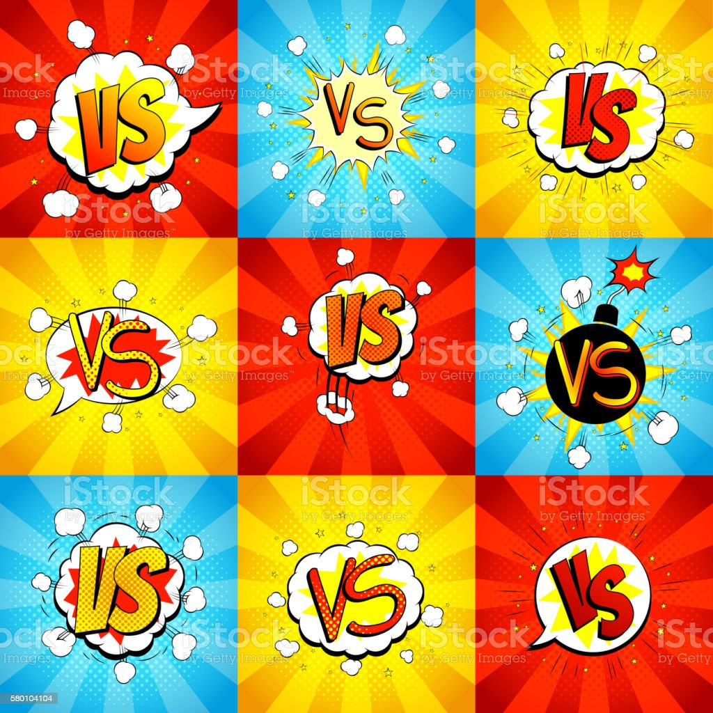 Set of versus letters fight backdrops in pop art style royalty-free stock vector art