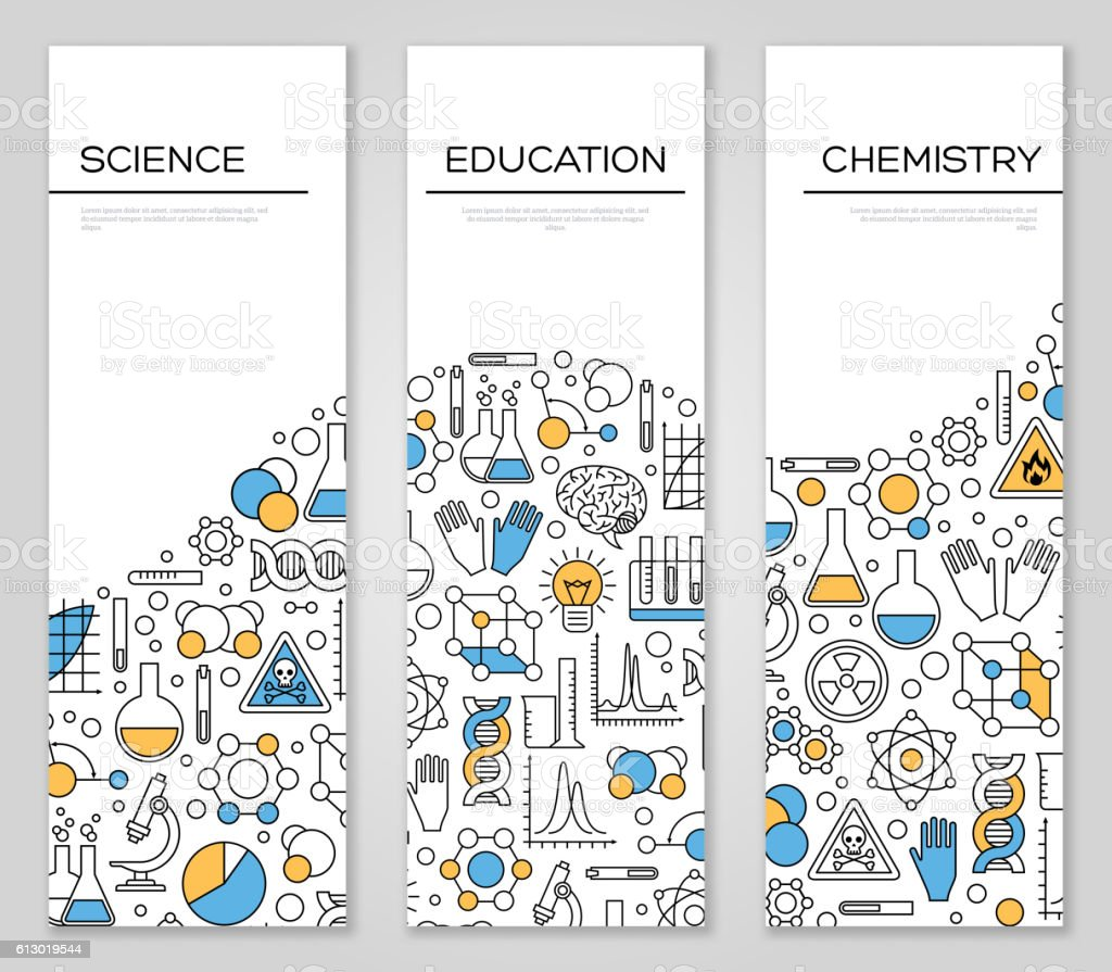Set of Vertical Banners with Science Symbols vector art illustration