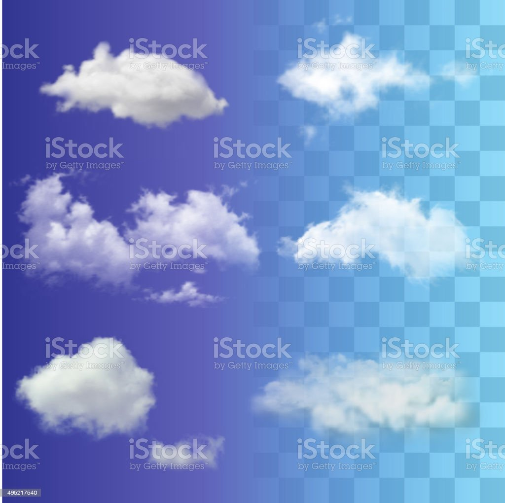 Set of very realistic different transparent white sky clouds. vector art illustration