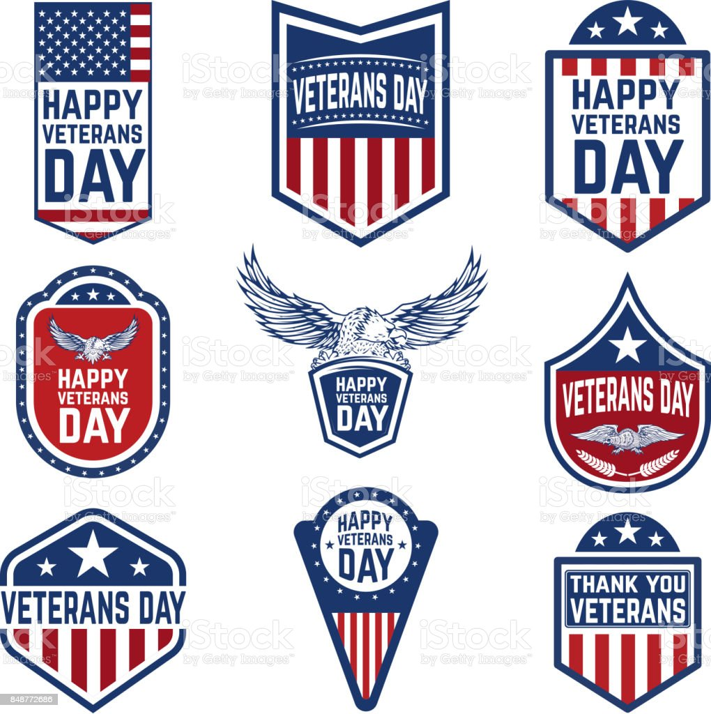 Set of veterans day emblems. USA culture. vector art illustration