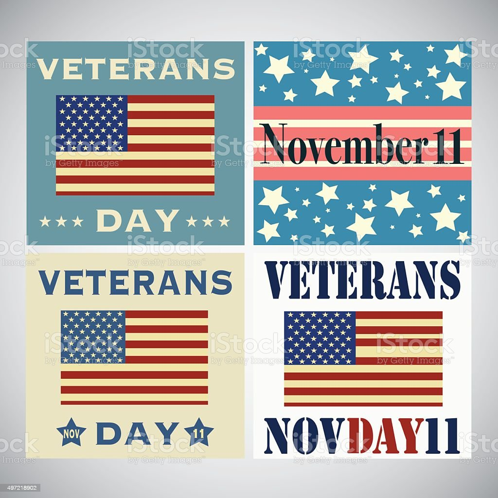 Set of Veterans Day greetings isolated on white royalty-free stock vector art