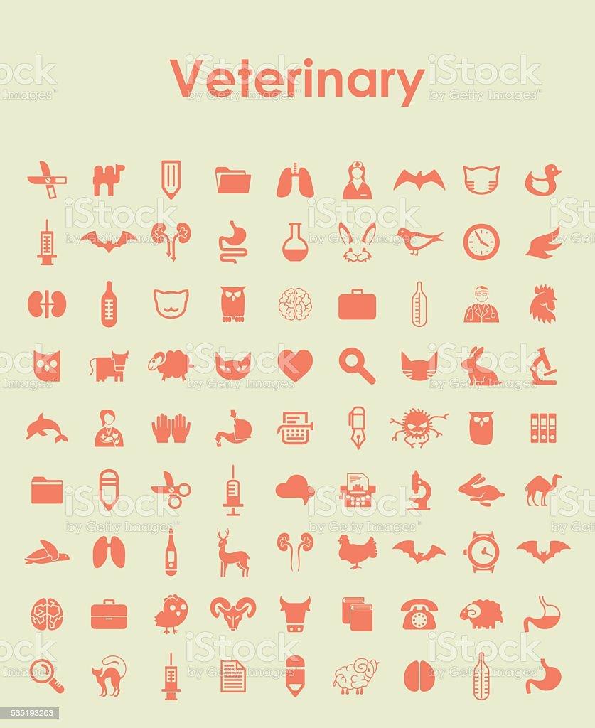 Set of veterinary simple icons vector art illustration