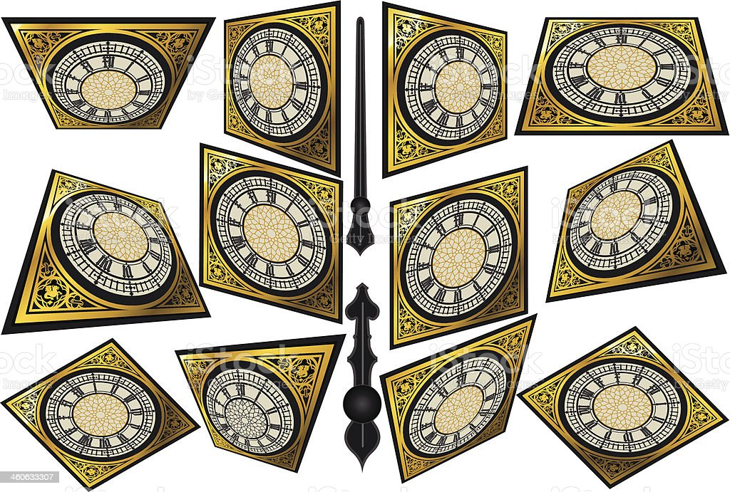 Set of Victorian Clocks with Lancets vector art illustration