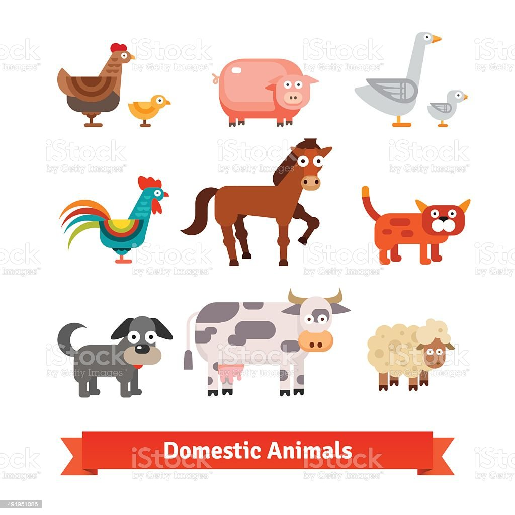Set of village farm domestic animals vector art illustration