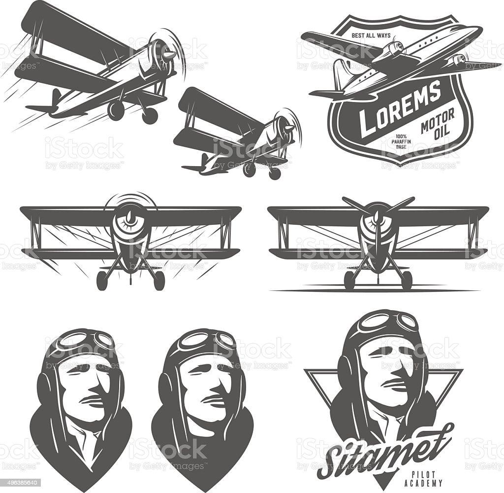 Set of vintage aircraft design elements. Biplanes, pilots, design emblems vector art illustration