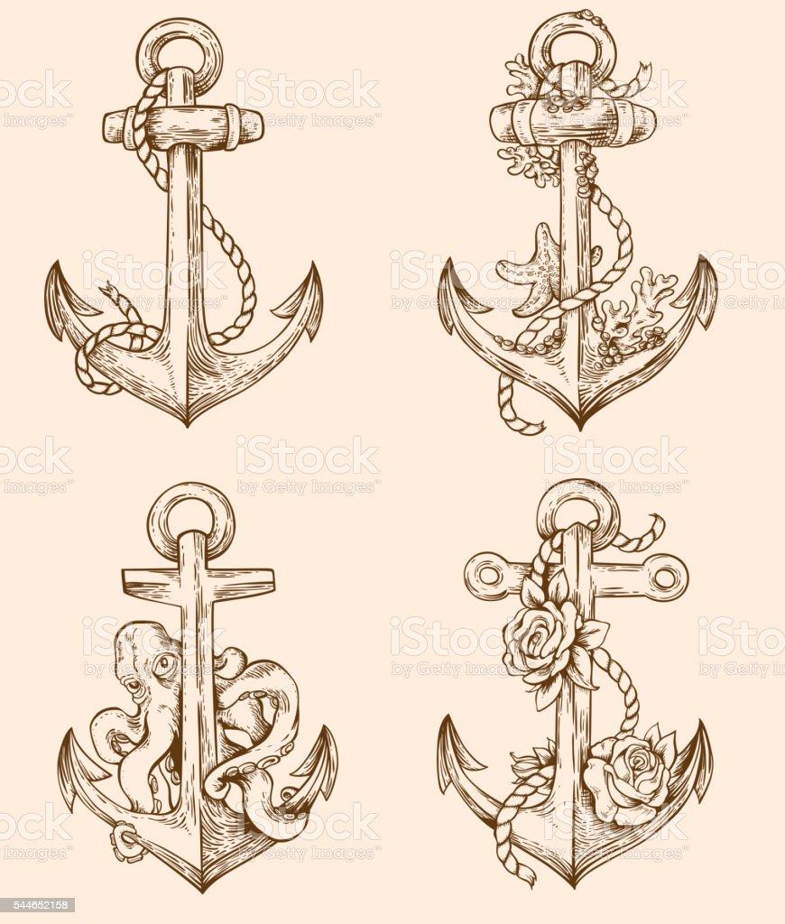 Anker bleistiftzeichnung  Ein Set Von Klassisch Anchors Vektor Illustration 544652158 | iStock