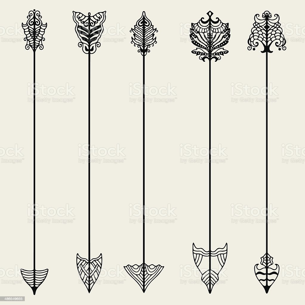Set of vintage arrows, hand drawn in graphic style vector art illustration