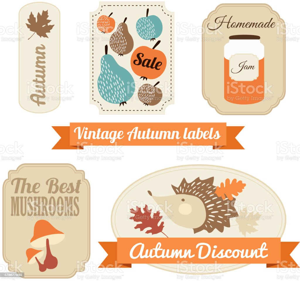 Set of vintage autumn fall labels, tags, stickers, vector vector art illustration