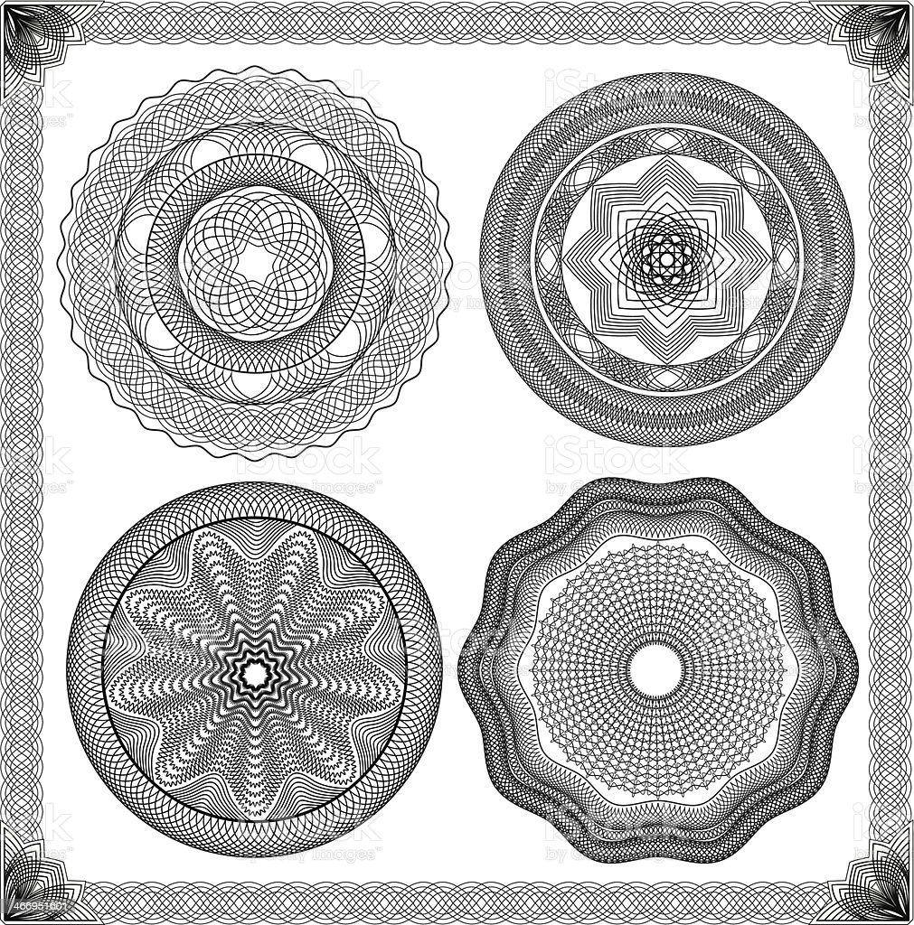 Set of Vintage backgrounds, Guilloche ornamental Element for Certificate, Diploma vector art illustration