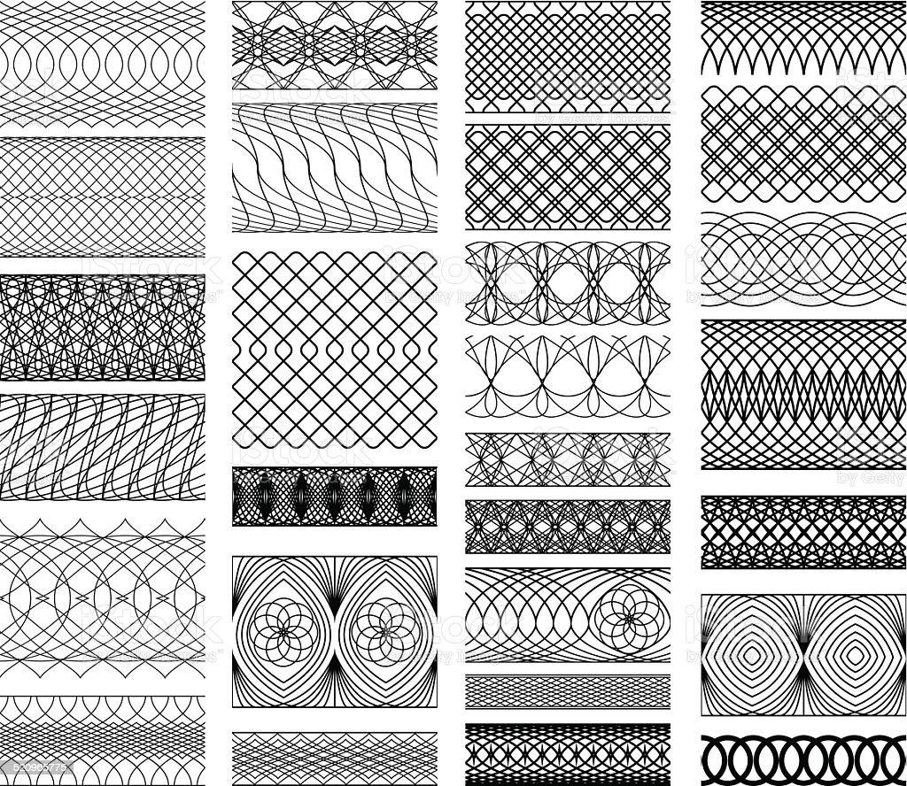 Set of Vintage backgrounds, Guilloche ornamental Element vector art illustration