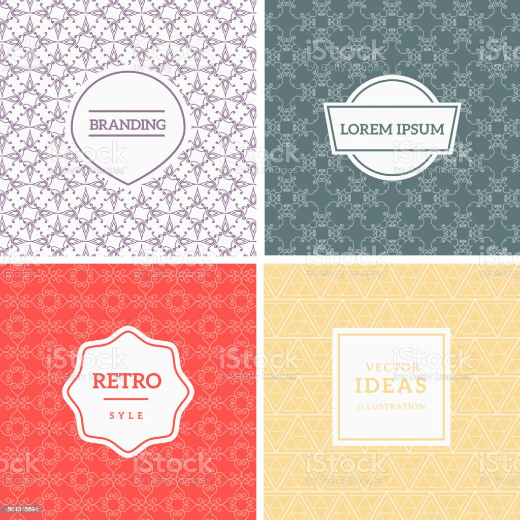 Set of Vintage Backgrounds vector art illustration