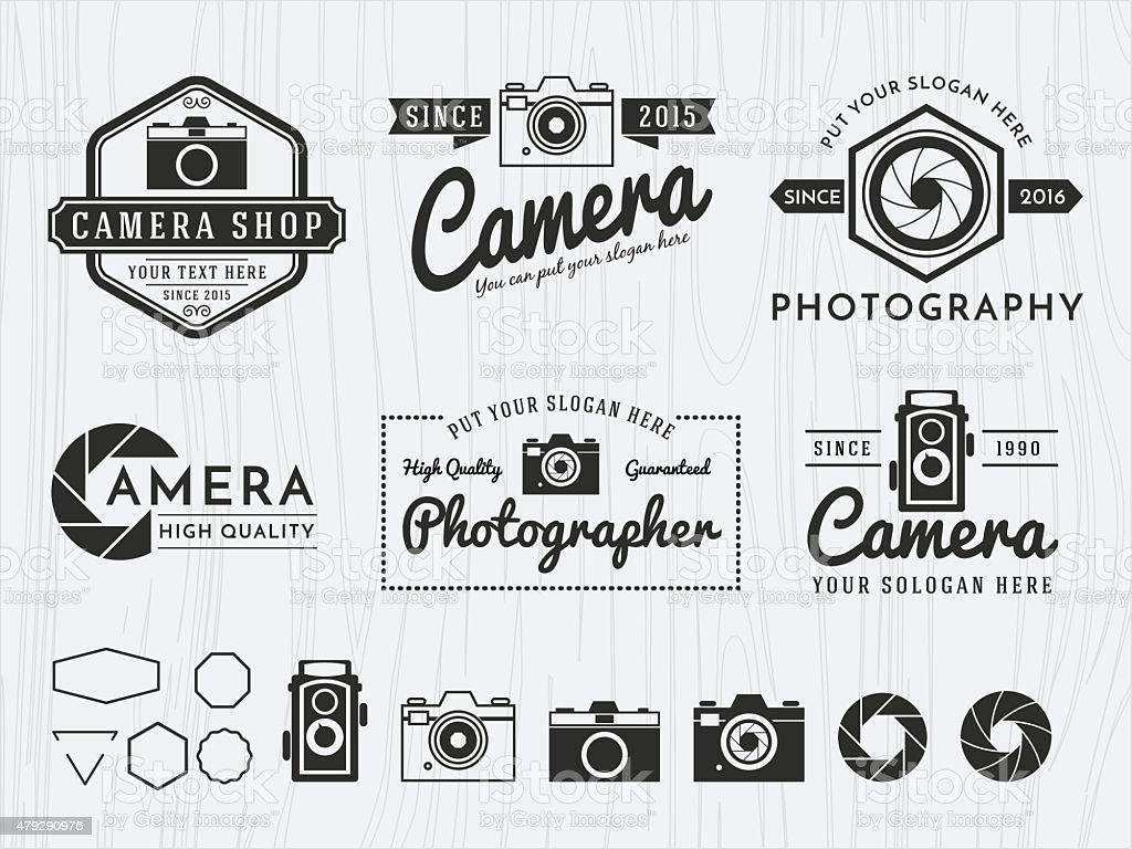 Set of vintage badge logo camera and photography design, vector art illustration
