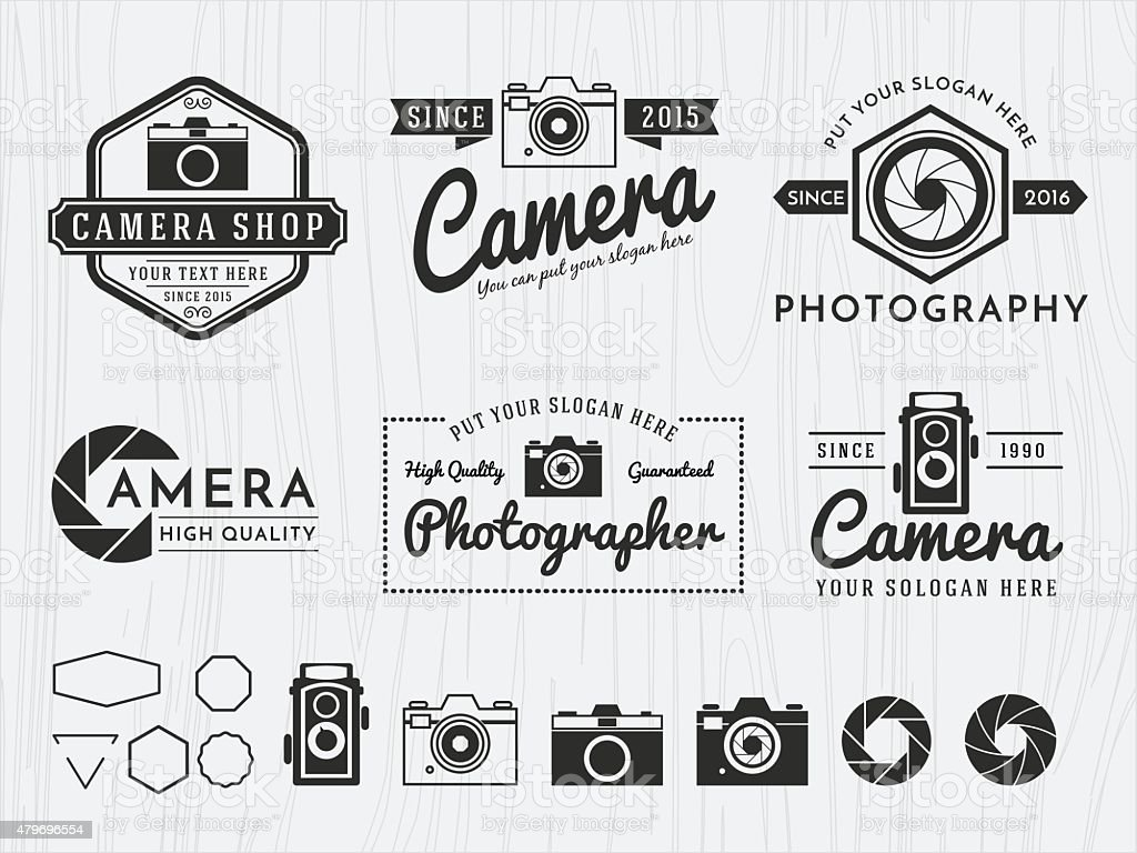 Set of vintage badge logo camera and photography design vector art illustration