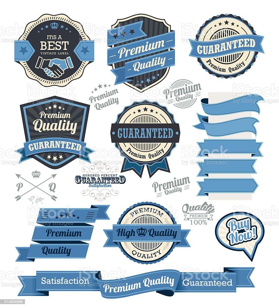 Set of vintage badges and label design elements vector art illustration