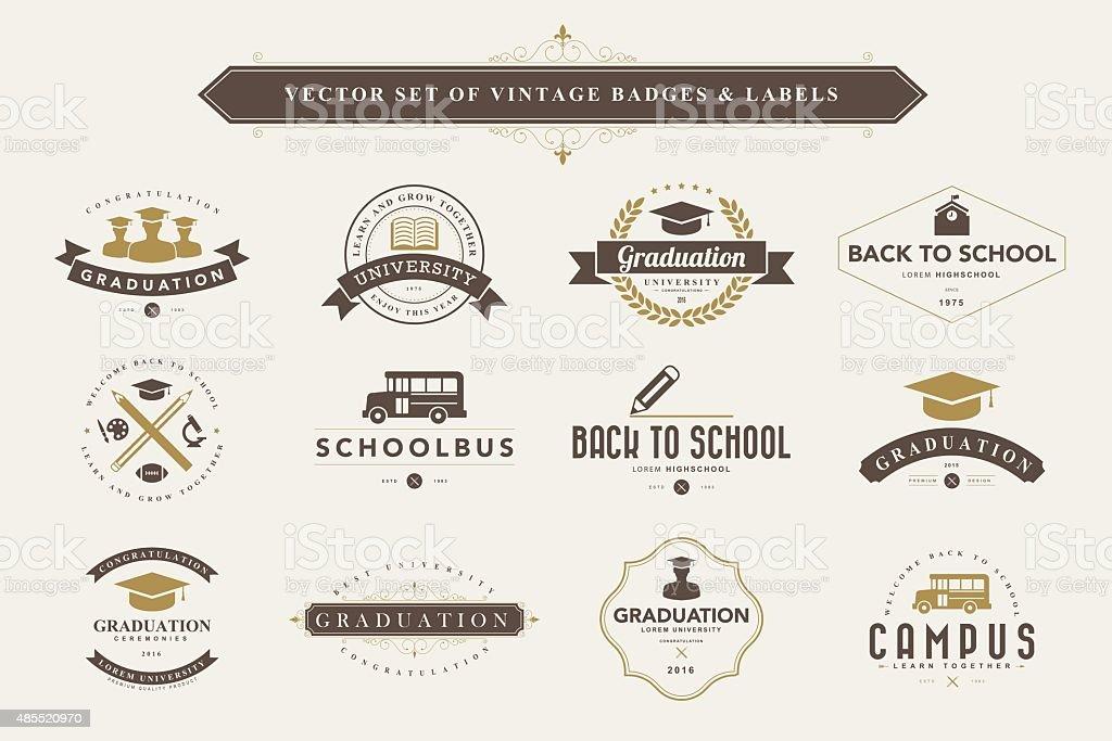Set of vintage badges and labels. vector art illustration