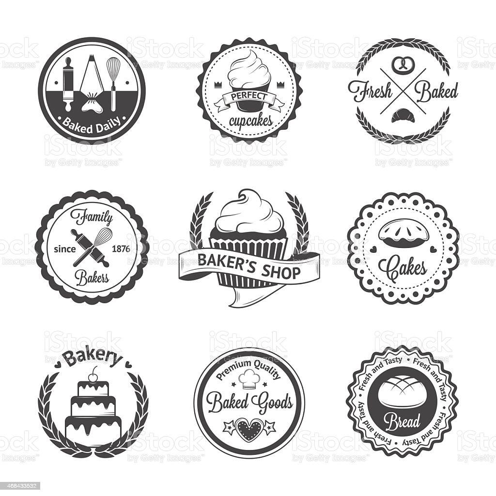 Set of Vintage bakery labels and logos vector art illustration
