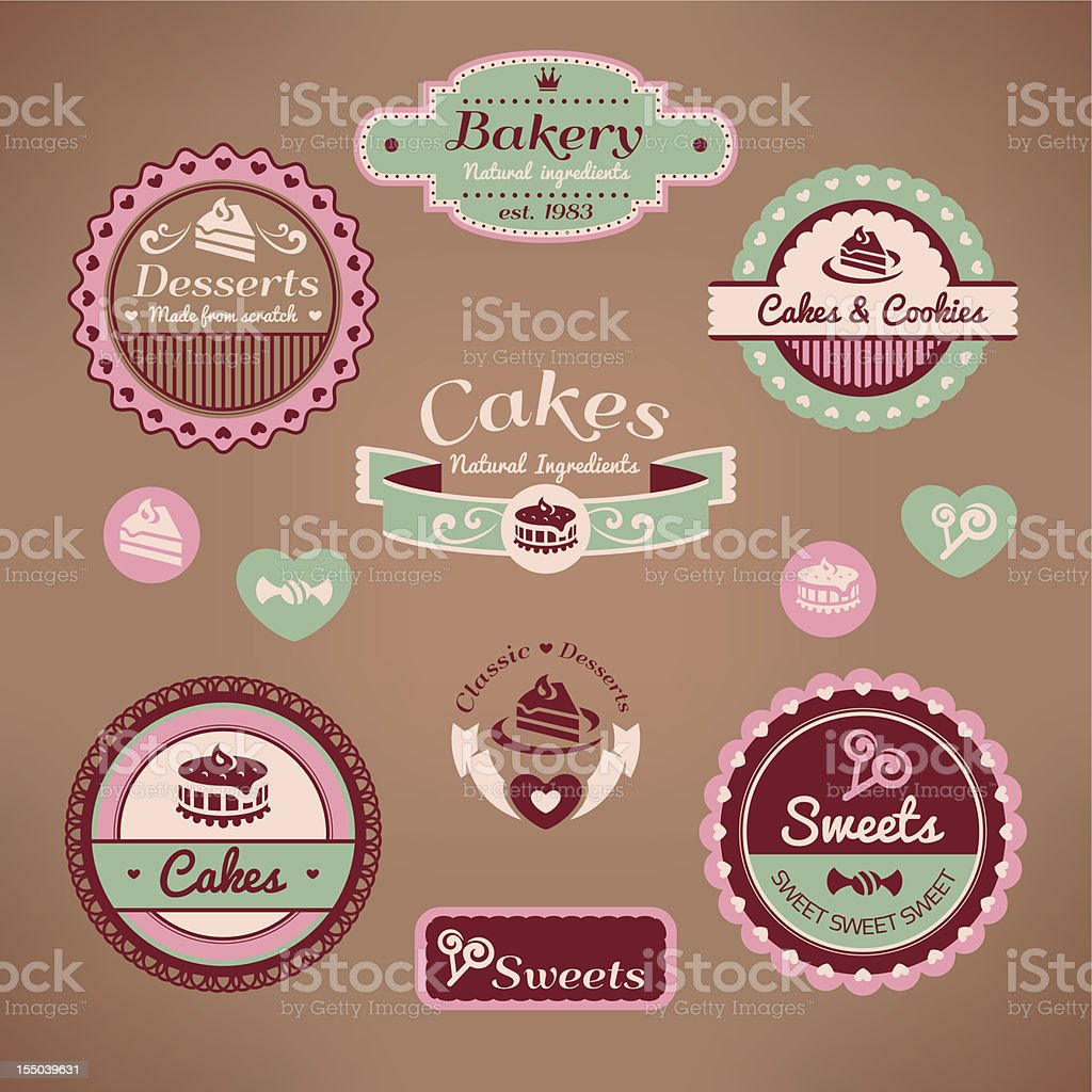 set of vintage bakery labels vector art illustration