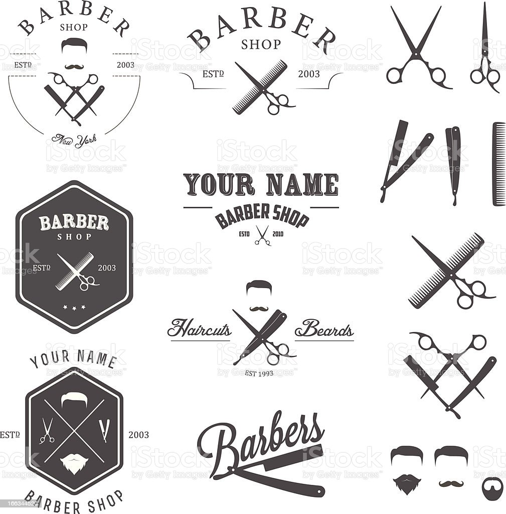 Set of vintage barber shop labels, badges and design elements vector art illustration